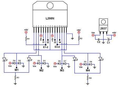 4 wings motor control circuit using L298