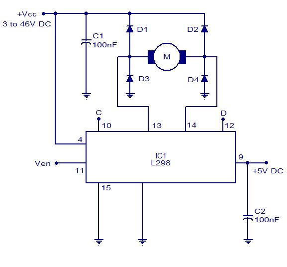 H-bridge motor control circuit using L298
